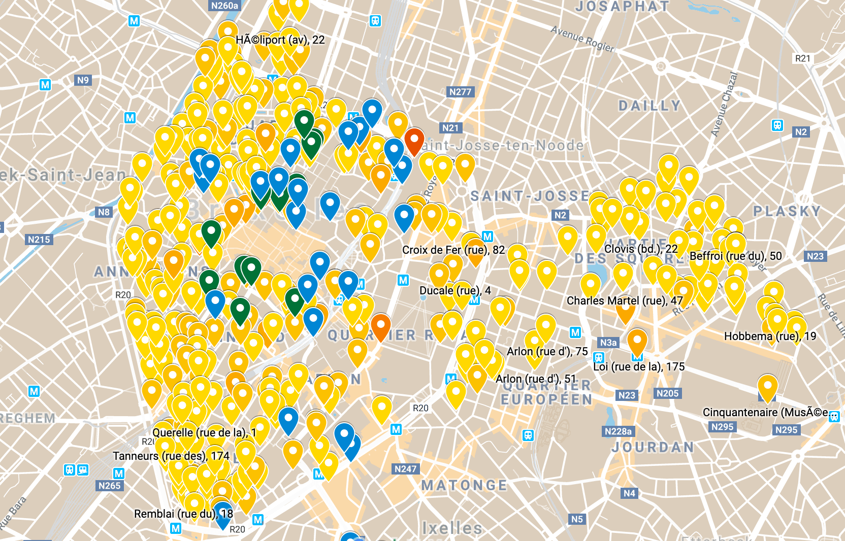 Une carte permettant de visualiser les places de parking à Bruxelles